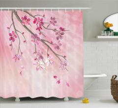 Pembe Çiçekli Duş Perdesi Kiraz Çeyizlik Şık