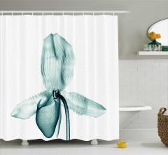 3D Etkili Orkide Desenli Duş Perdesi Sanatsal