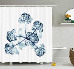 3D Etkili Çiçek Desenli Duş Perdesi Şık Dizayn