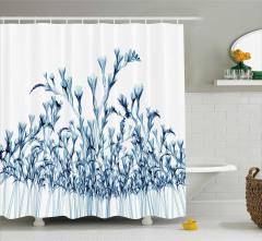 Mavi Çiçekler Desenli Duş Perdesi 3D Etkili