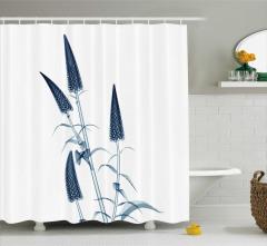 3D Etkili Çiçekler Desenli Duş Perdesi Mavi