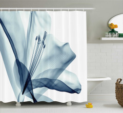 Şık Mavi Çiçek Desenli Duş Perdesi 3D Etkili