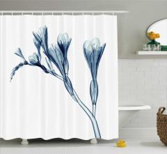 Mavi 3D Çiçek Desenli Duş Perdesi Dekoratif