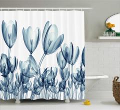 Dekoratif Lale Desenli Duş Perdesi 3D Çiçek