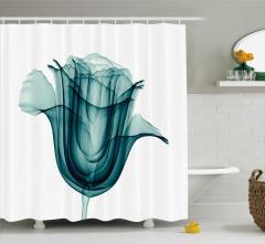 Dekoratif Gül Desenli Duş Perdesi 3D Etkili