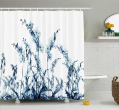 3D Etkili Dekoratif Desenli Duş Perdesi Çiçek