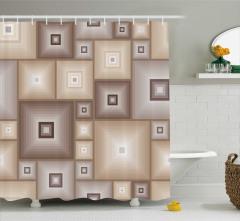 İç İçe Bej Kareler Desenli Duş Perdesi Modern