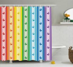 Şerit ve Kelebek Desenli Duş Perdesi Rengarenk