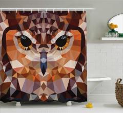 Kübist Baykuş Desenli Duş Perdesi Geometrik