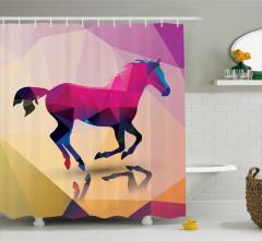 At ve Yansıması Desenli Duş Perdesi Rengarenk