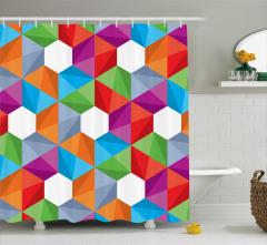 Geometrik Desenli Duş Perdesi Modern Tasarım
