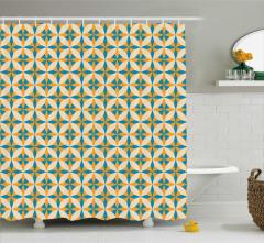 Geometrik Sarı Mavi Desenli Duş Perdesi Şık
