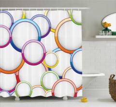Rengarenk Halka Desenli Duş Perdesi Şık Modern