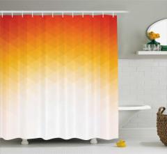 Turuncu Geometrik Desenli Duş Perdesi Modern