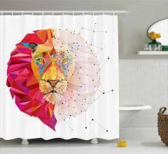Geometrik Aslan Desenli Duş Perdesi Rengarenk