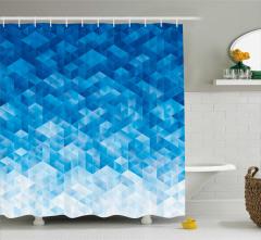 Mavi Geometrik Desenli Duş Perdesi Şık Model