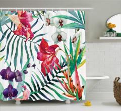 Rengarenk Çiçek Desenli Duş Perdesi Çeyizlik