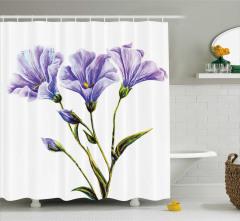 Mor Çiçek Desenli Duş Perdesi Beyaz Arka Plan