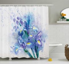 Sulu Boya Çiçek Desenli Duş Perdesi Mavi Mor