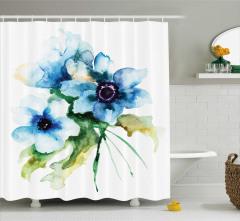 Mavi Çiçekler Desenli Duş Perdesi Sulu Boya