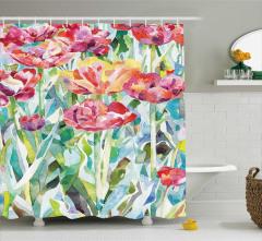 Rengarenk Lale Desenli Duş Perdesi Sulu Boya