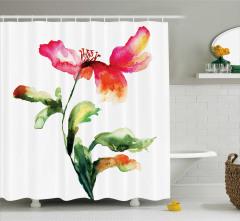 Pembe Çiçek Desenli Duş Perdesi Şık Çeyizlik