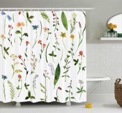 Kır Çiçekleri Desenli Duş Perdesi Şık Tasarım