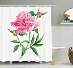 Çiçek ve Tomurcuk Desenli Duş Perdesi Pembe