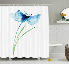 Mavi Çiçek Desenli Duş Perdesi Şık Tasarım