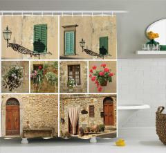 Pencere ve Kapı Temalı Duş Perdesi Dekoratif