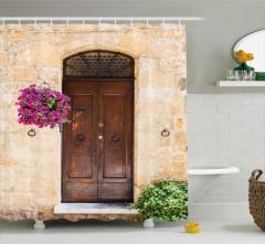 Kapı ve Mor Çiçek Temalı Duş Perdesi Nostaljik