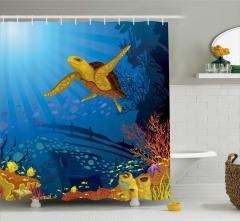 Gemi ve Kaplumbağa Desenli Duş Perdesi Deniz
