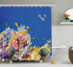Mercan ve Balık Desenli Duş Perdesi Rengarenk