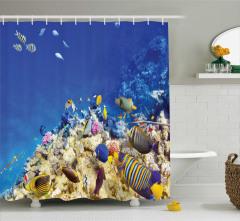 Egzotik Deniz ve Balık Temalı Duş Perdesi Mavi