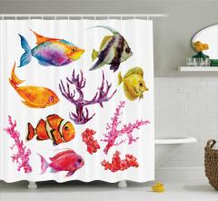 Balıklar ve Mercan Desenli Duş Perdesi Beyaz