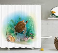 Turkuaz Deniz Desenli Duş Perdesi Kaplumbağalı