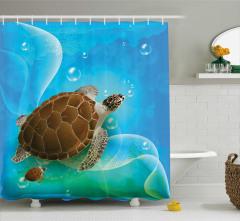 Deniz Kaplumbağası Desenli Duş Perdesi Mavi