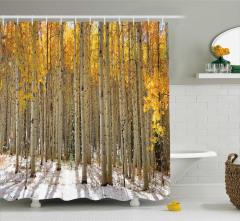 Orman ve Kar Temalı Duş Perdesi Sarı Beyaz