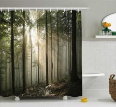 Orman ve Güneş Temalı Duş Perdesi Şık Tasarım