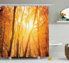 Güneş ve Ağaç Temalı Duş Perdesi Sarı Turuncu