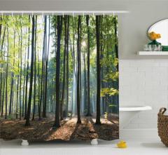 Sis ve Orman Manzaralı Duş Perdesi Sarı Yeşil