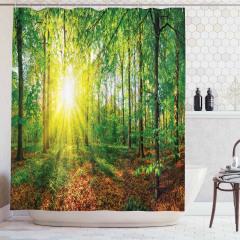 Sonbahar Manzaralı Duş Perdesi Orman ve Güneş