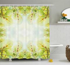 Güneş ve Yaprak Manzaralı Duş Perdesi Doğa