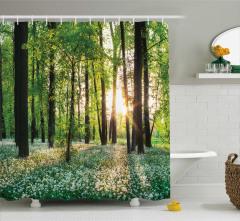 Çiçek ve Orman Temalı Duş Perdesi Yeşil Doğa