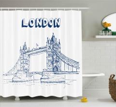 Nostaljik Köprü Desenli Duş Perdesi Londra