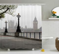 Big Ben ve Londra Temalı Duş Perdesi Nostaljik