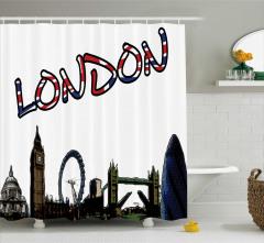 Londra Temalı Duş Perdesi Şık ve Dekoratif