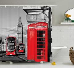 Telefon Kulübesi Temalı Duş Perdesi Londra