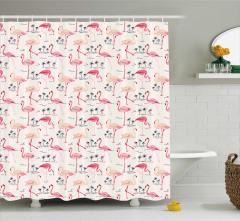 Pembe Flamingo Desenli Duş Perdesi Tropikal Beyaz