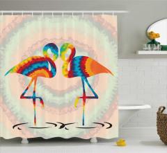 Rengarenk Aşık Flamingo Desenli Duş Perdesi Romantik